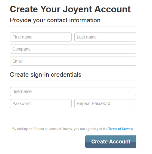 Joyent Sign Up Form
